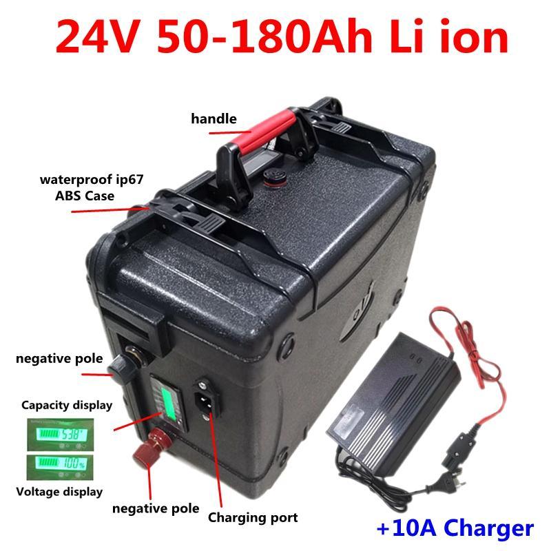 Водонепроницаемый IP67 ионный аккумулятор 24V 50Ah 60Ah 80Ah 100Ah 120Ah 150AH лития с BMS для троллинга двигателя солнечной системы + 10A Charger