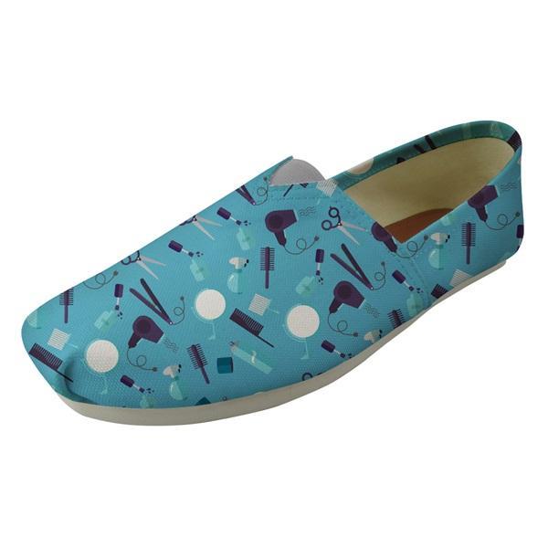 Azul Ferramenta Barber Impressão Mulher de verão preguiçoso Pano Sapatos casuais respirável Apartamentos confortáveis sapatos Leve calçado