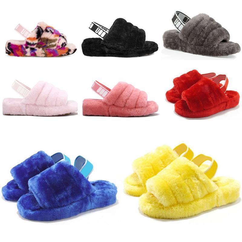 Australia calzados informales de la moda bebés pelusa sí zapatillas de diapositivas invierno zapatilla de pelusa mujeres mullido imitación peludos sandalias de diapositivas de visón de piel Fnyi #