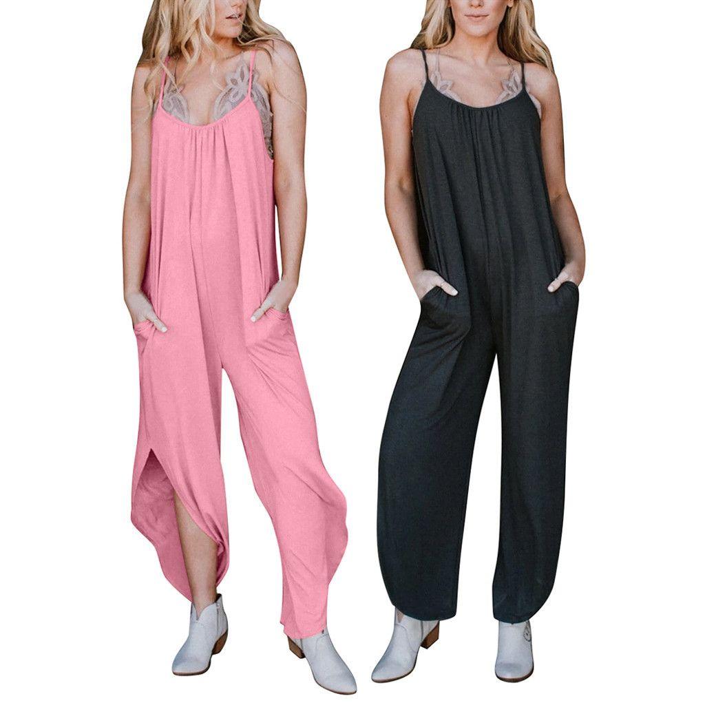 Mulheres Jumpsuits Casual cor sólida Pockets Sexy mangas Sling Backless Dividir solto calças compridas 2020 Rompers Verão Jumpsuits