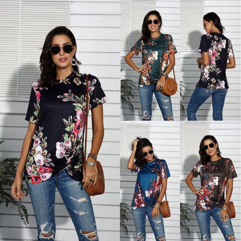 2020 Womens T do verão camiseta New Hot Venda Europeus E Americanos Flores Impressão manga curta O pescoço solto Womens Tops w7qO #