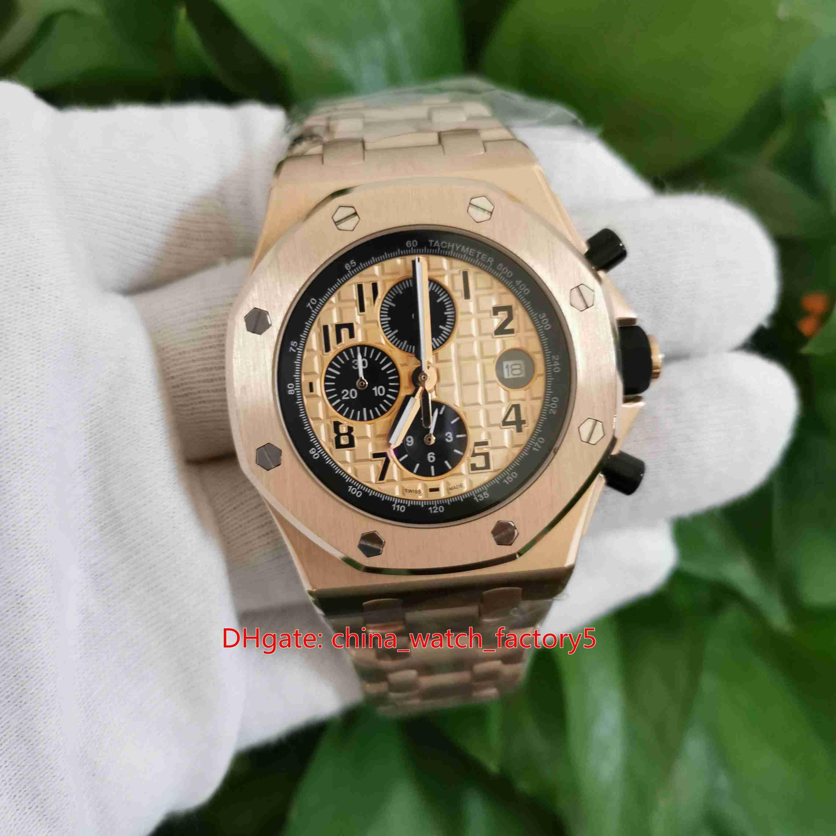 Artículos calientes de calidad superior del reloj 42mm Royal Oak Offshore 26470 26470OR.OO.1000OR.01 18k de oro rosa VK cronógrafo de cuarzo Workin para hombre Relojes