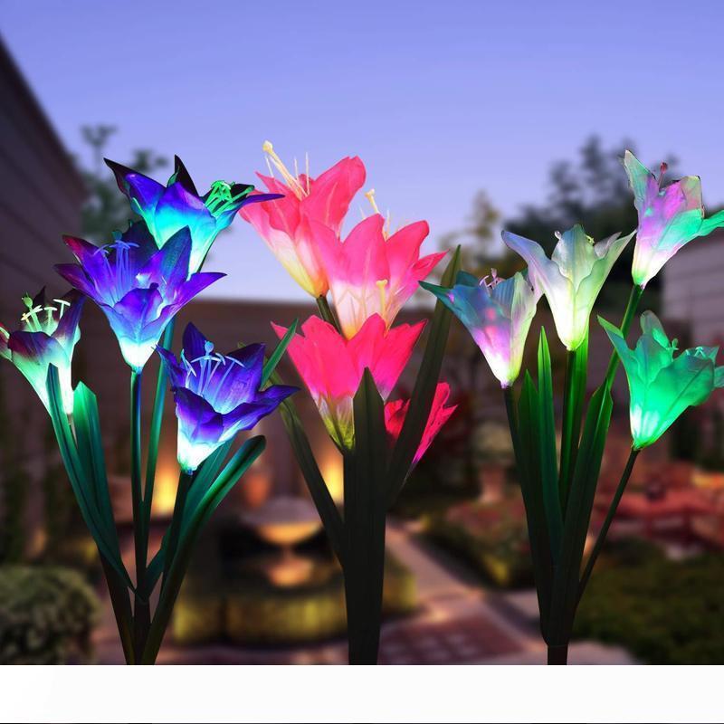 4 Lily Lanterns Outdoor Rainproof Garden Ground Insert Lawn Simulation Lantern Landscape Decoration Lights Random Delivery 10037