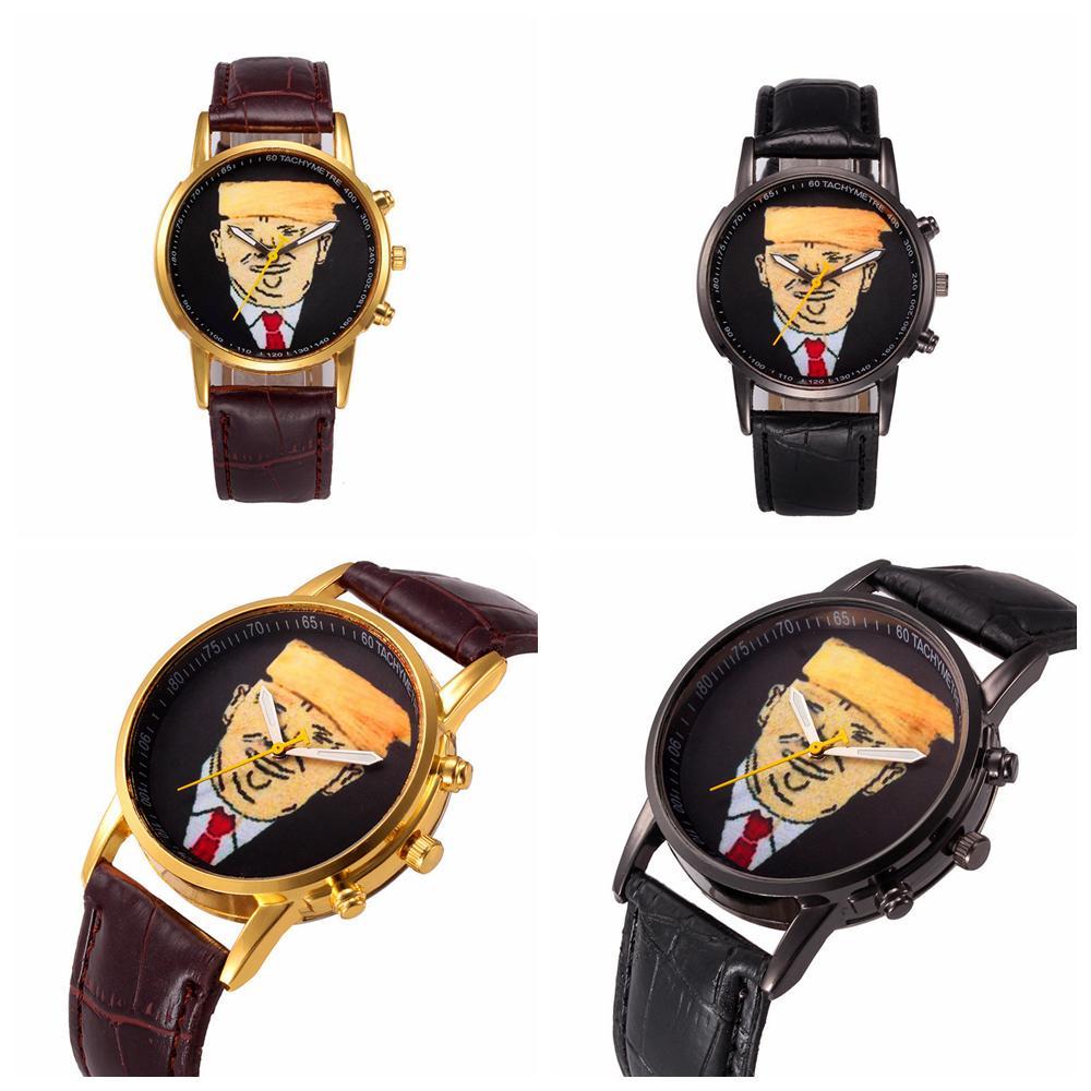 ترامب كوارتز ساعة ساعة اليد الكرتون الكلاسيكية والأزياء ووتش مع PU الشريط لإمدادات صالح الرجال نساء حزب FFA4310