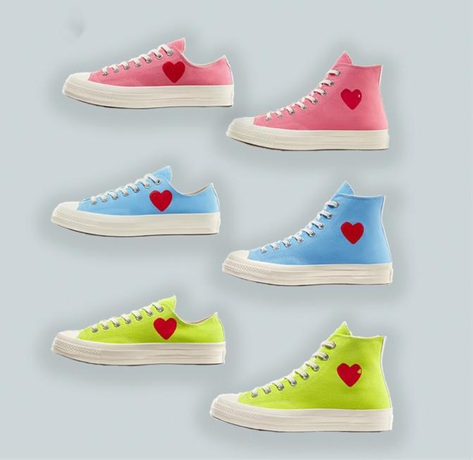 Big Eyes 70 Hi lona calçados casuais coração Taylor All Star 70 Azul Verde Rosa 1970 sneakers conjuntamente Nome skate Sapatos L8qj #