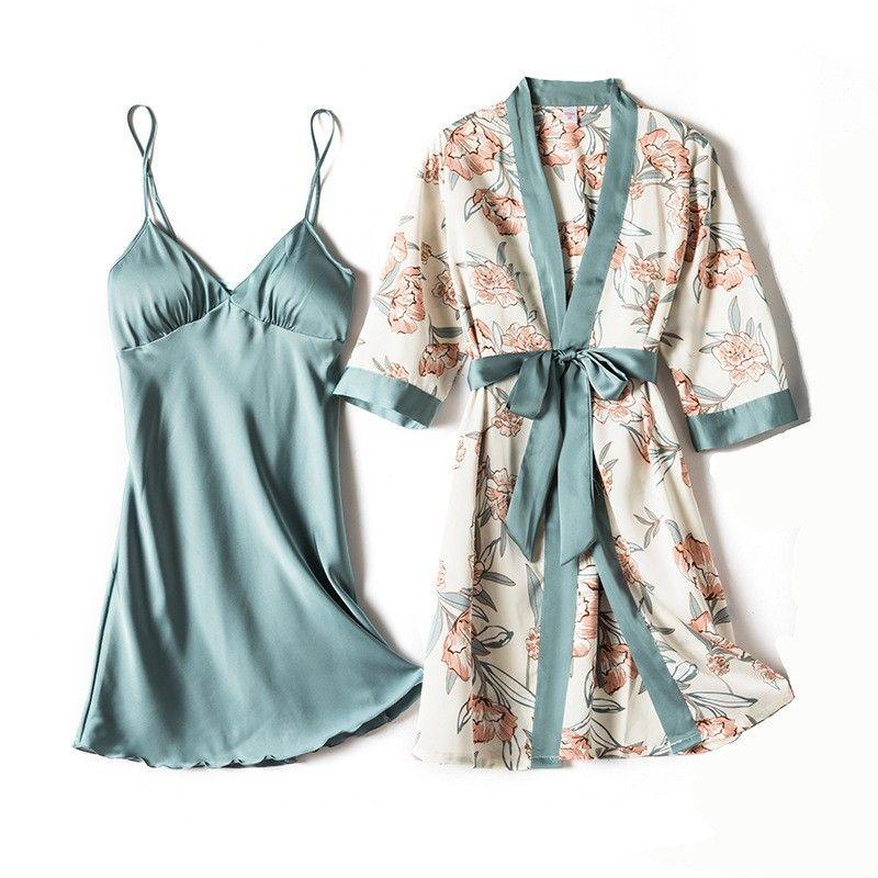 2020 New Women Kimono Bathrobe Gown Satin 2PCS Sleep Set Intimate Lingerie Sexy Nighty&Robe Suit Print Flower Sleepwear Homewear