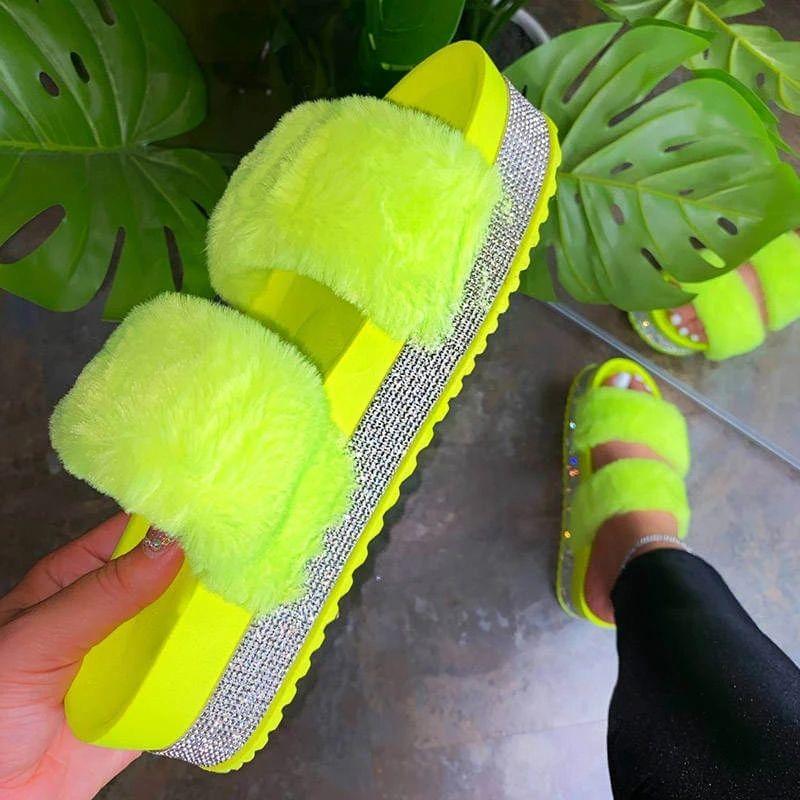 Плюс размер 35 - 44 женщины пушистые тапочки дома дом в помещении женщин дамы обувь милые плюшевые пушистые сандалии меховые тапочки случайно