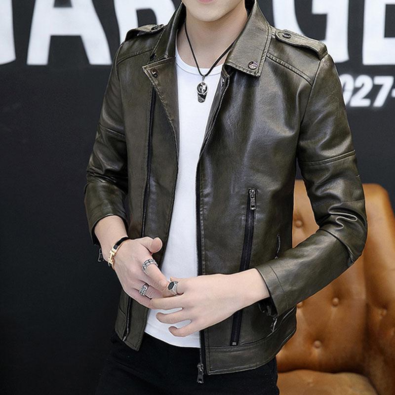 Homens genuína jaqueta de couro 2020 primavera e no outono pele de carneiro short slim adolescente masculino jaqueta de couro motocicleta preta P06 verde
