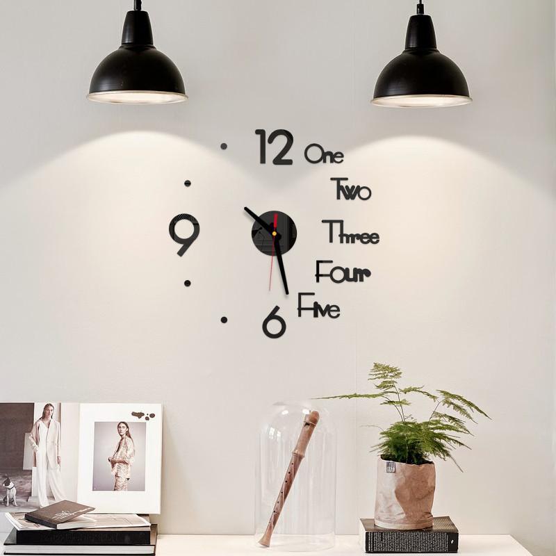 DIY Digital Wall Clock 3D-Spiegel-Oberflächen-Aufkleber Silent-Clock Home Office-Dekor-Wand für Schlafzimmer Office