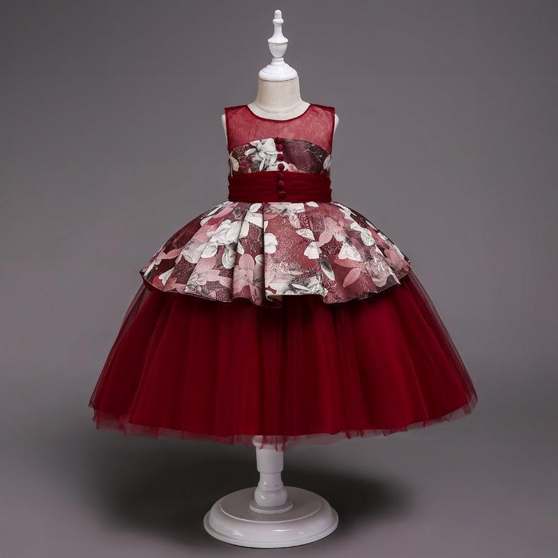 2020 nuovi vestiti di arrivo con motivo floreale per dell'arco delle ragazze dei vestiti da sera per le bambine, Bella elegante abito estivo Gala