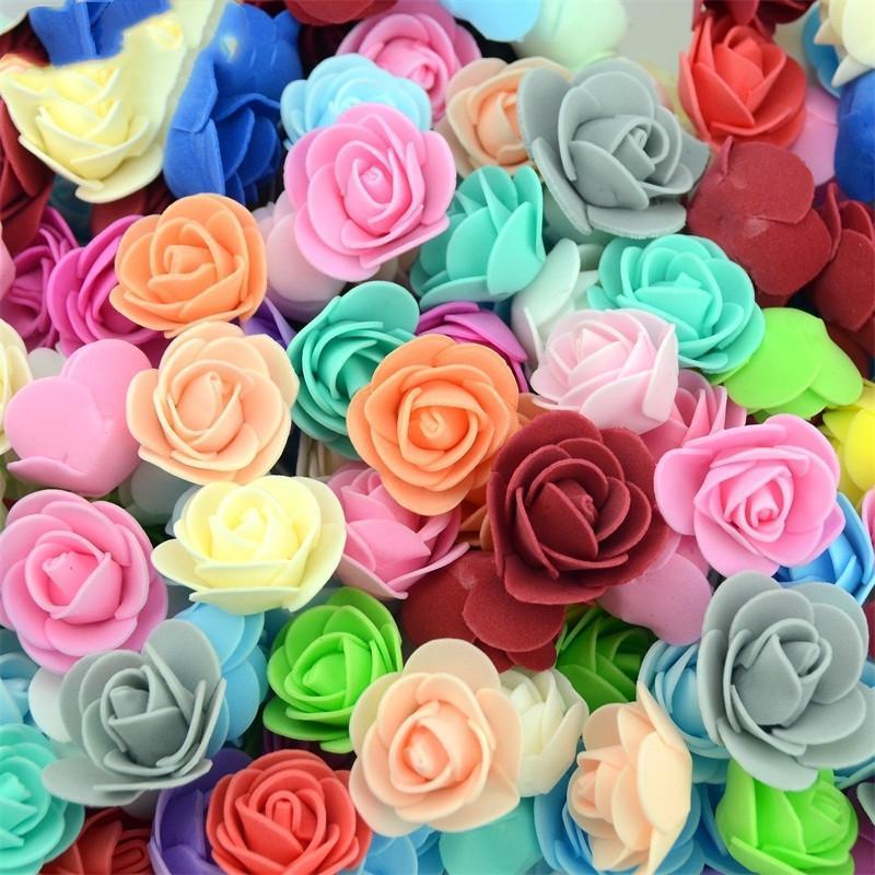 50PCS / Lot Artificial Mini PE Rose de la espuma Cabeza de flor hecha a mano DIY hogar de la boda de la decoración DIY de Scrapbooking falso bola de la flor del beso