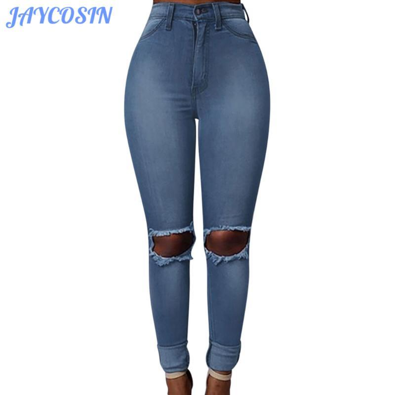 JAYCOSIN Clothes Women Jeans Sexy Skinny Stretch Slim Denim Trousers Fashion High Waist Pocket Hole Pencil Pants Jeans