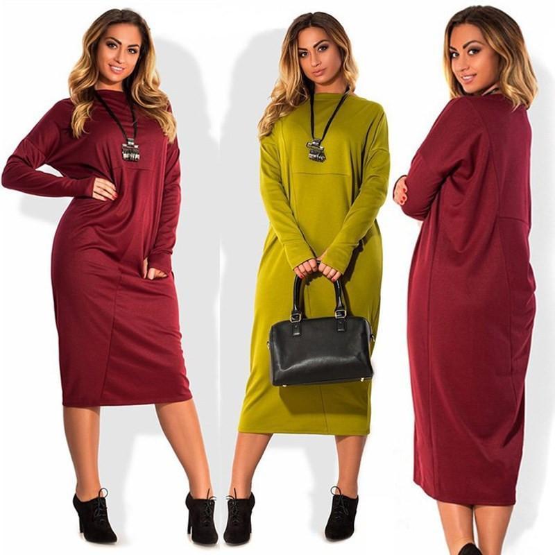 Mujeres sólido color de la camiseta de los vestidos de otoño del resorte de manga larga del O-Cuello suelta Varios vestidos Famale más el tamaño de ropa