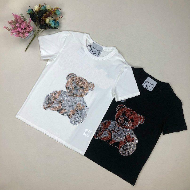 diamante modo caldo di estate T-shirt donna avanzata importata Super Flash modello lettera a maniche corte tendenza uomini della T-shirt