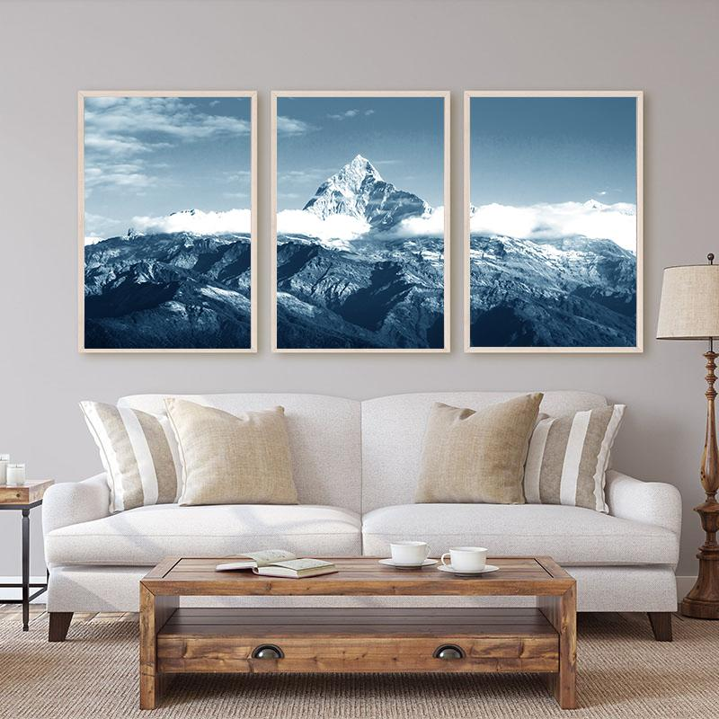 Wall Art Natureza Neve Paisagem da montanha azul da lona Pintura Posters Nordic o minimalismo ea Prints Pictures para sala de estar