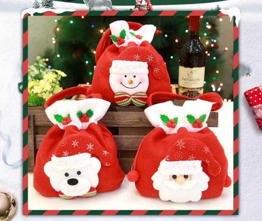 Padrão Árvore de Natal Papai Noel Boneco de neve colorido vermelho Saco dos doces bolsa Partido Home Decoração do presente do Natal Bolsa Suprimentos GA545