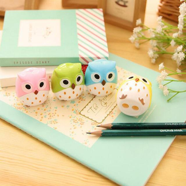 Cheap Sharpeners 1 x kawaii owl plastic sharpener pencil cutter knife korean stationery school supplies papelaria