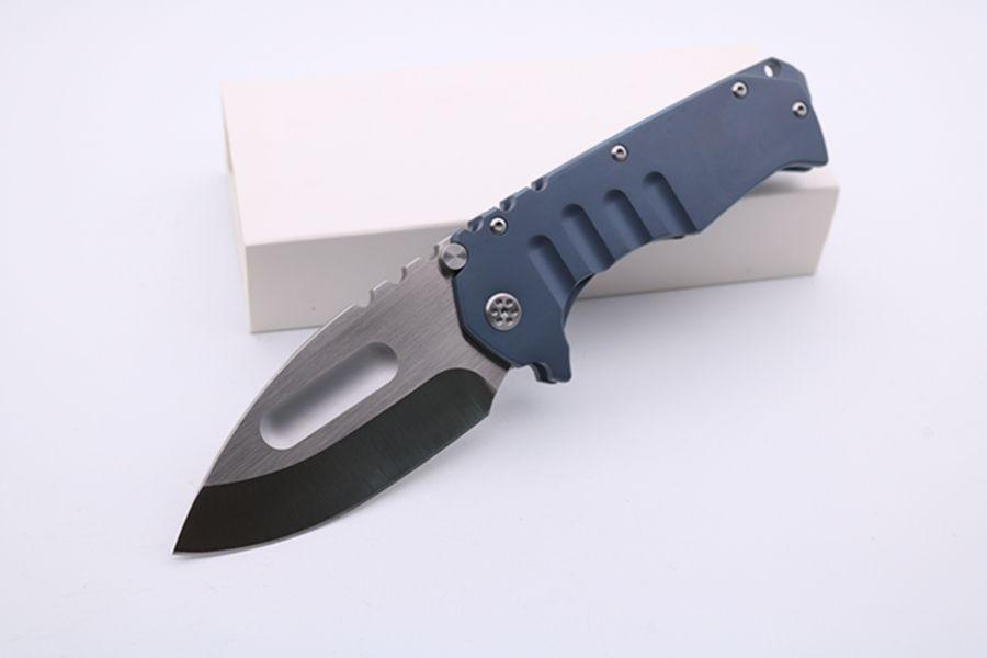 Handle personalizado de alta qualidade MDF faca dobrável Dc53 lâmina azul anodizado Titanium Tactical Survival Pocket Knife Camping Faca de caça