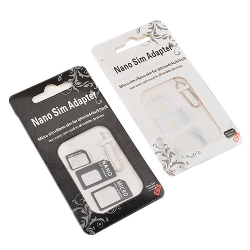 Boa adaptador Noosy qualidade com eject pin 4em1 Noosy Nano Micro Sim Card Padrão Convertion Converter for samsung LG todo o telefone móvel