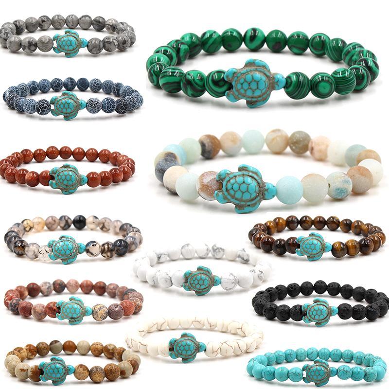 Pulseiras de pedra natural frisado azul tartaruga pulseira tartaruga mar charme ágata tigre olho turquesa lava pedra grânulos mulheres braceletes