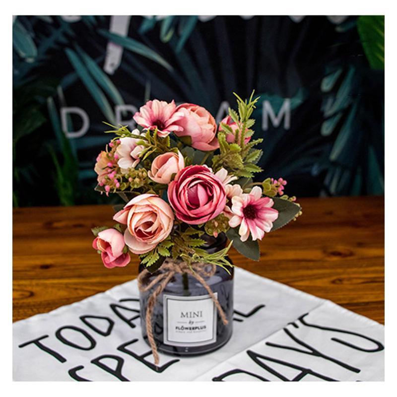 12 Têtes soie artificielle Rose bourgeons de fleurs Plantes Bouquet Faux Accueil Décoration de mariage Jardin Floral Bureau Party Chambre