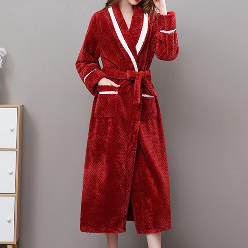 Hiver Coralline peluche Châle Allongé Peignoir Robe à manches longues Manteau robe femmes robe de nuit peignoir Flanelle femmes