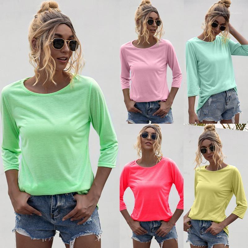 Quarter Mulher Três Sleeve T-shirt Designer Magro Womens Tops de Verão de cor sólida O Neck Moda Casual Tees