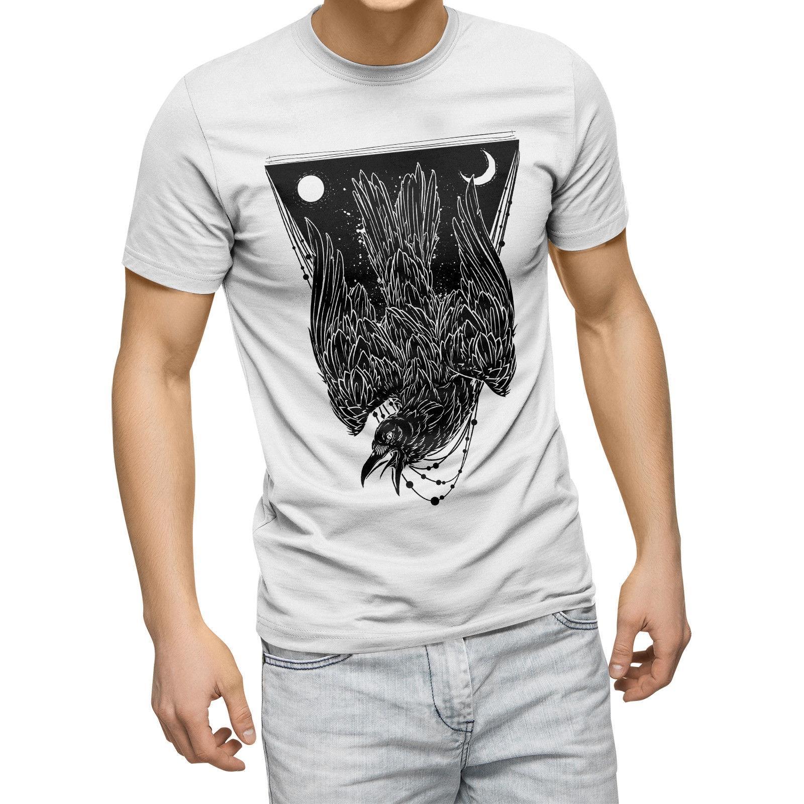 Cuervo oscuro del horror camiseta Bird mal emotivo punk gótico del inconformista hombre para hombre de la camiseta Top más el tamaño de la camiseta de manga corta