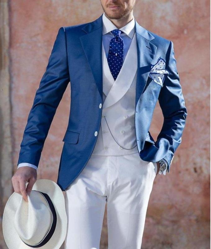 2021 Şık İki Düğmeler Mavi Damat smokin Notch Yaka Erkekler Düğün Groomsmen 3 adet Suit (Ceket + Yelek + Pantolon)