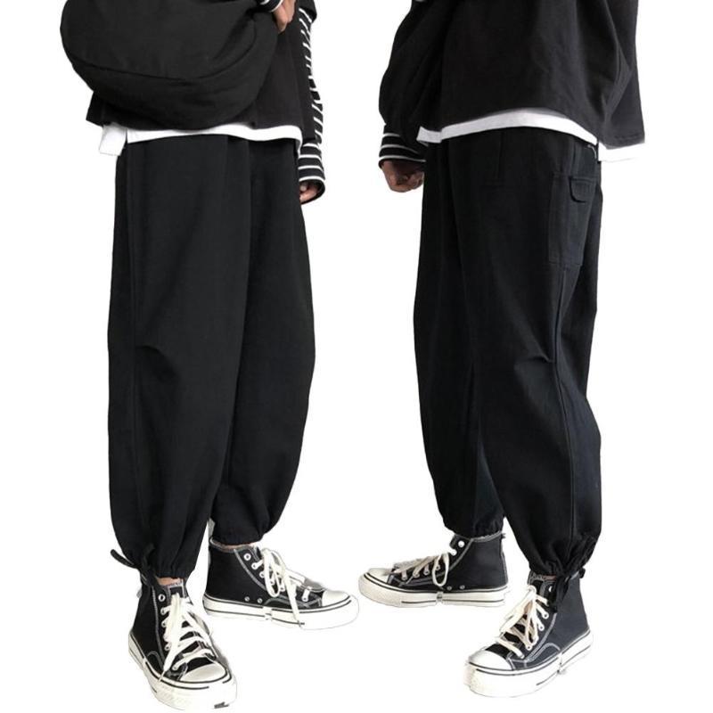 Homens Moda suave respirável tornozelo Laço cordão soltos Calças Ninth Calças Men Preto Joggers Pants Pockets Ankel Carga