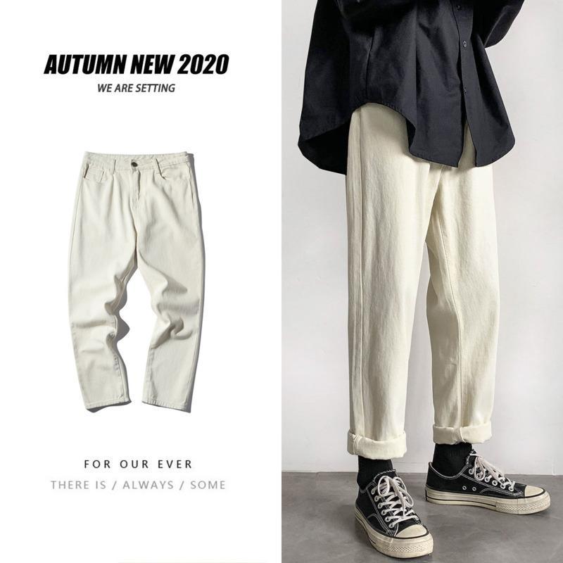 Hip-hop Jeans droite Mode pour hommes Solide Couleur Coton Casual Retro Jeans Hommes Streetwear sauvage en vrac Denim Pantalons Hommes S-2XL