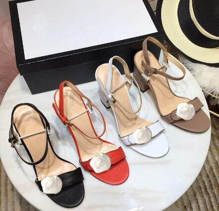 Wholesale - Classic High heeled sandals Coarse heel leather luxury Designer Suede woman shoes Metal buckle for parties Occupation Sexy sanda