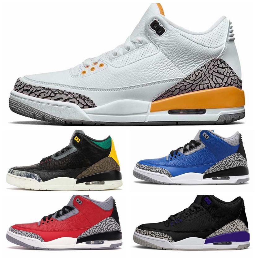 2020 Naranja láser UNC 3 3s zapatos de baloncesto de Jumpman Instinto animal animal de carga para hombre Varsity Royal Knicks rivales zapatillas de deporte los Deportes