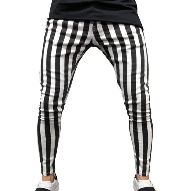 I pantaloni degli uomini di estate 2020 di moda comoda sottile a strisce nero bianco Casual Pants tl58 #