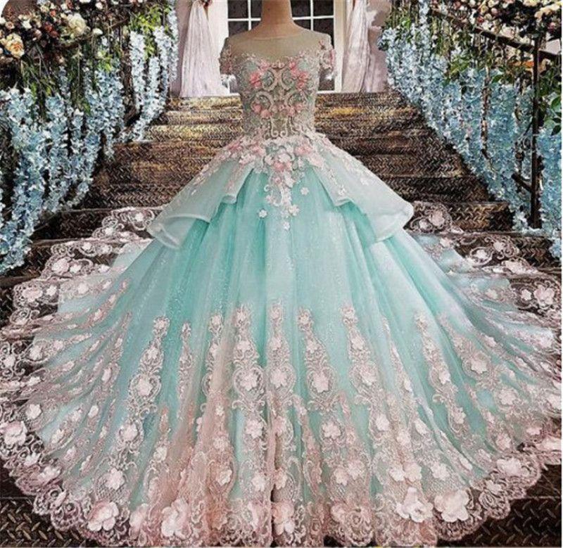 Sheer merletto del collo Appliques Quinceanera formale Vestidos De Quinceanera del partito di sera delle donne Sweet 16 abiti del partito