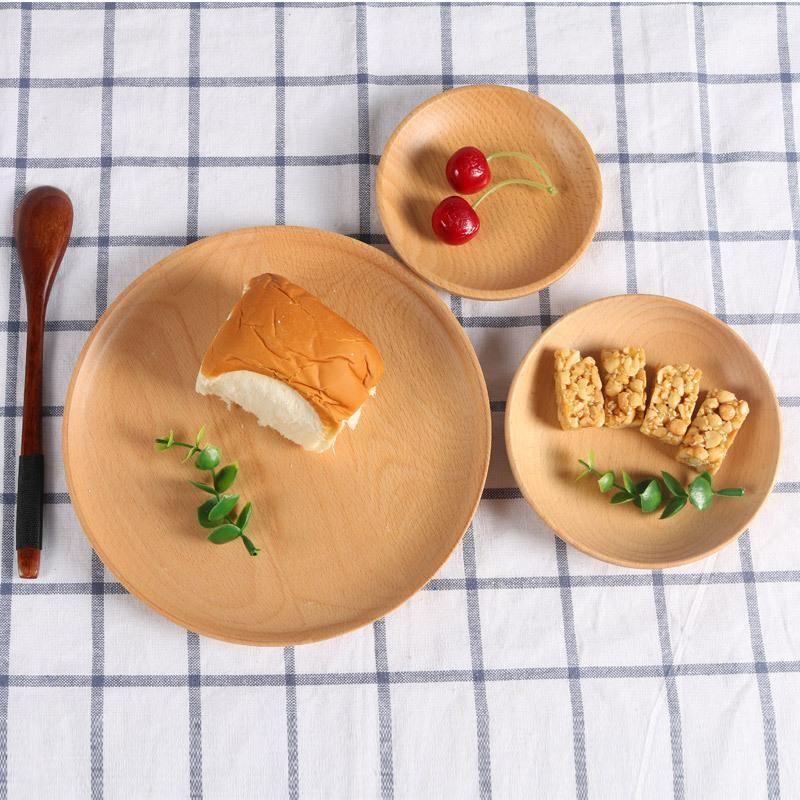 Круглая древесина отель поднос для отеля Beech Fruits Plate Pizza блюдо детская чашка чашка чашка для десертной пластины суши блюдо блюдо подача лотка посуда DHC41