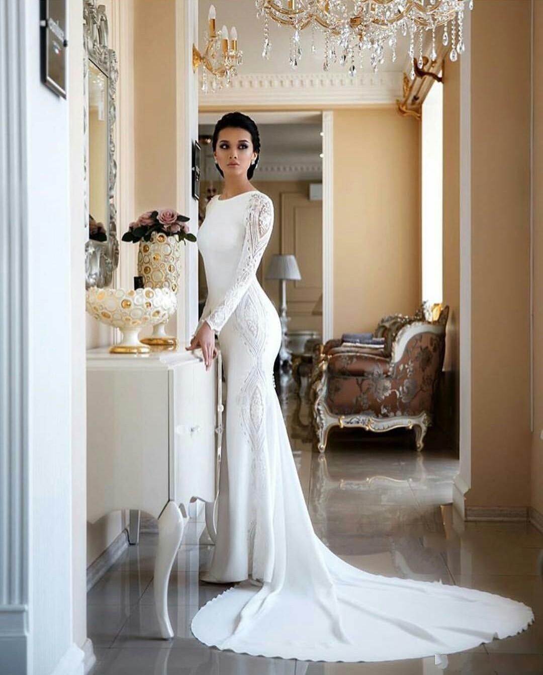 Vintage maniche lunghe della sirena Abiti da sposa Autunno Matrimoni Appliqued merletto in rilievo Paillettes Plus Size Abiti da sposa