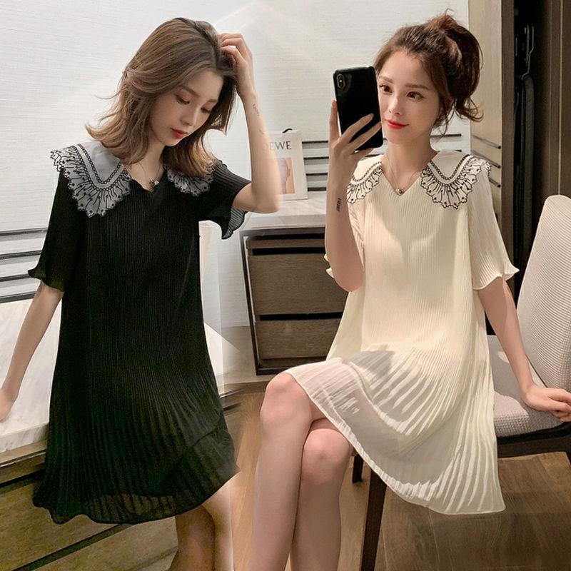 Hamile Kadın Elbise Yaz Hot Mom Hipster Doğum sonrası Giyim Kadın Giyim Bebek Yaka şifon Top Moda Kore Stil Elbise