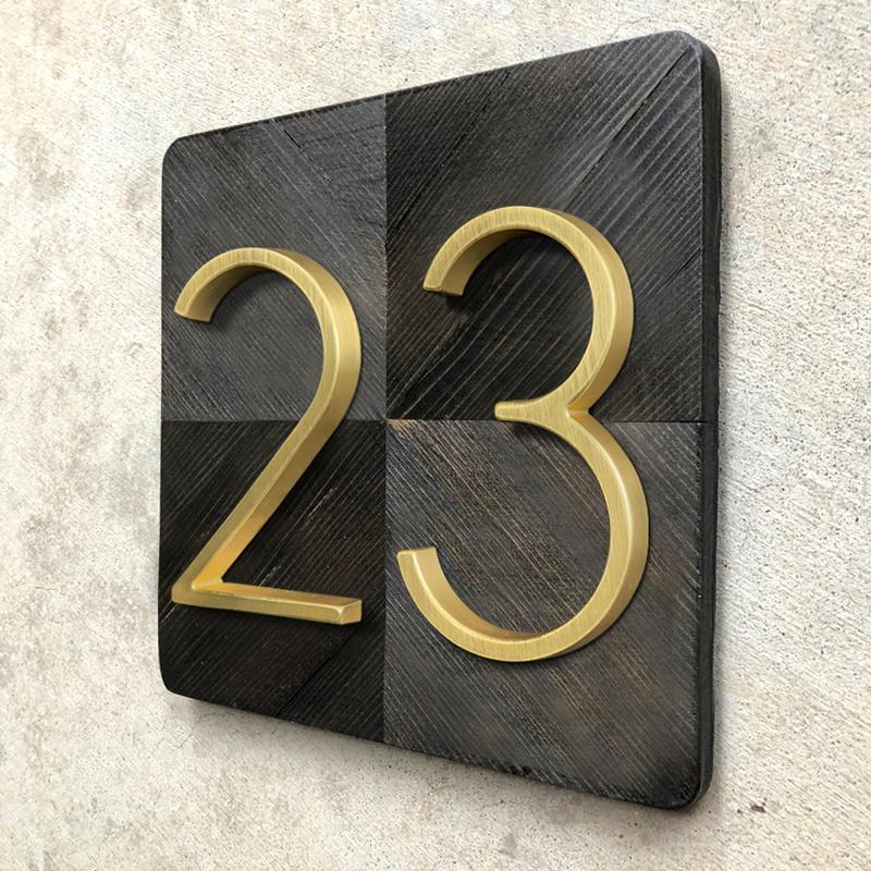 125mm d'or flottant Maison moderne Nombre laiton satiné Adresse porte Accueil numéros pour House Digital Outdoor Sign In. Plaques 5 # 0-9
