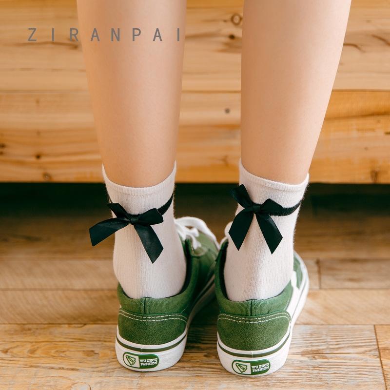 Sezon yeni çift iğne beraberlik ilmek kadın Pamuk Kelebek orta tüp pamuğun çorap nefes çorap