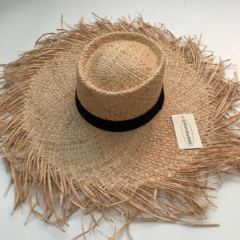 ZJBECHAHMU Moda novo sólido Vintage palha chapéus de sol para as mulheres Verão Caps exterior férias na praia sombra dobrar chapéus de palha fedoras Y200619