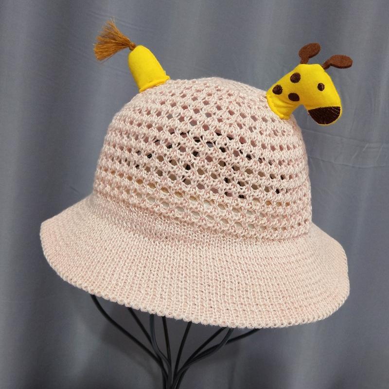 Infant pescatore secchio estate pescatore paglia cotone della neonata cava mesh traspirante cappello di paglia ragazzo cappello cervi cute sole aqInV