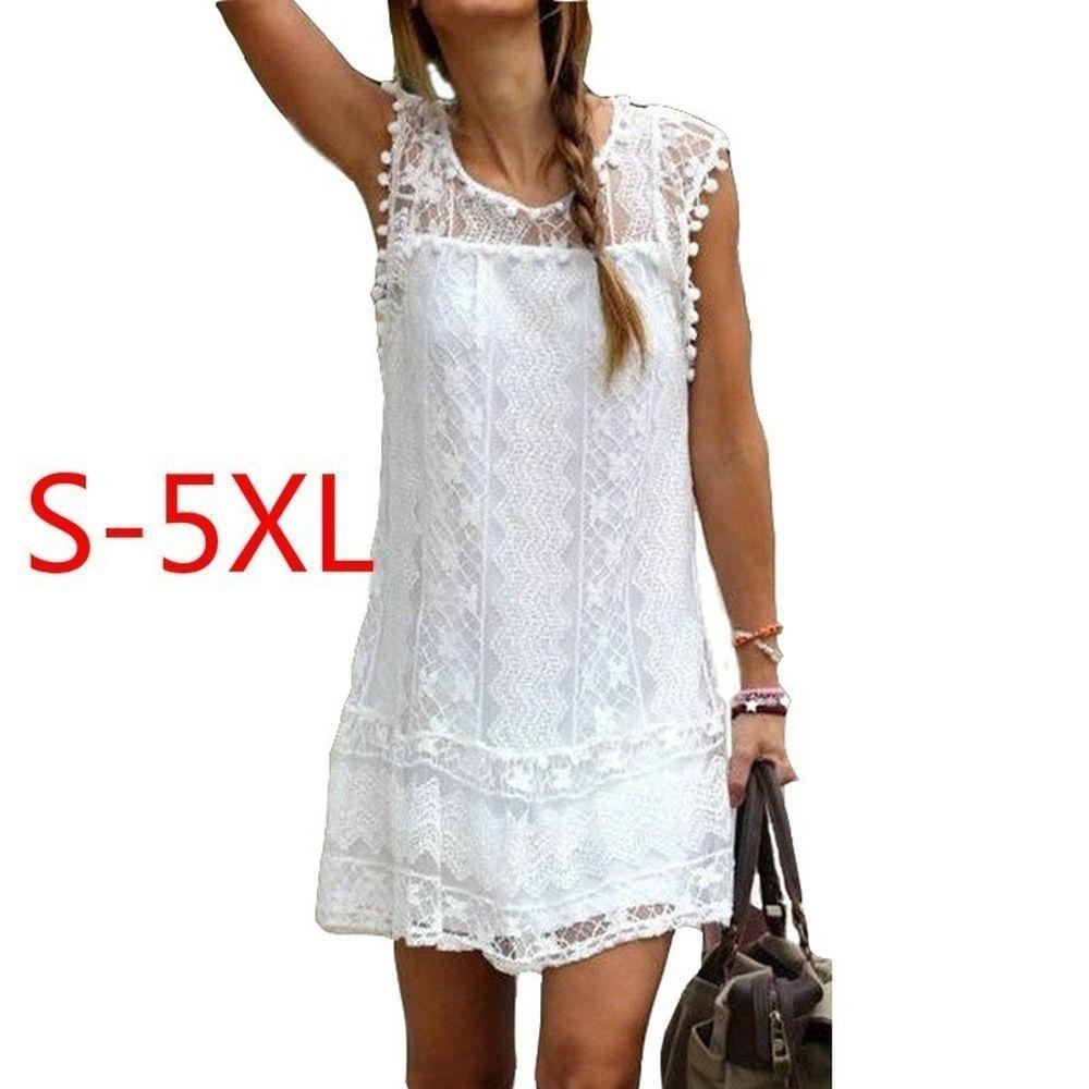 Women Casual Tassel Sleeveless Sexy Beach Dress Short Solid White Mini Lace Plus Size Summer XS-5XL