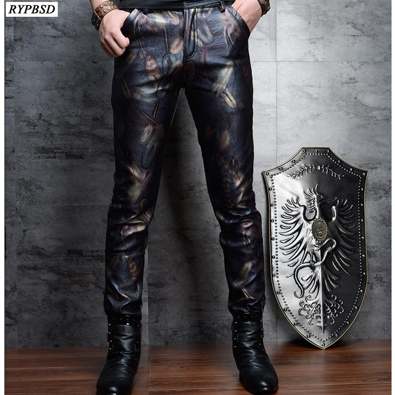 Skinny calças de couro homens moda Impresso Slim Fit PU de couro falso Calças de alta qualidade Zipper Mens motociclista calças