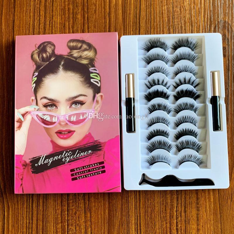 3D 5D ciglia magnetici con eyeliner e corredo della pinzette di 10 paia magnetica False Lashes aspetto naturale 2 Liquid Eyeliner No colla necessaria