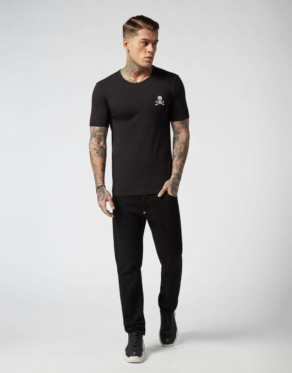 독일 패션 망 디자이너 티셔츠 새로운 여름 기본 솔리드 티셔츠 새로운 남성 자수 두개골 티셔츠 남성 최고 품질 100 % 코튼 티셔츠