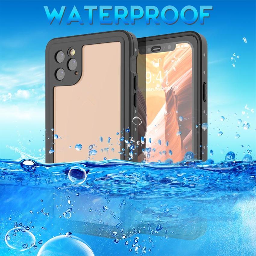 Darbeye Sualtı Kılıf iPhone için iPhone XS Max XR Coque Su için 11 Pro Max Vaka Açık Spor IP68 Su geçirmez toz geçirmez Dalış Kapak