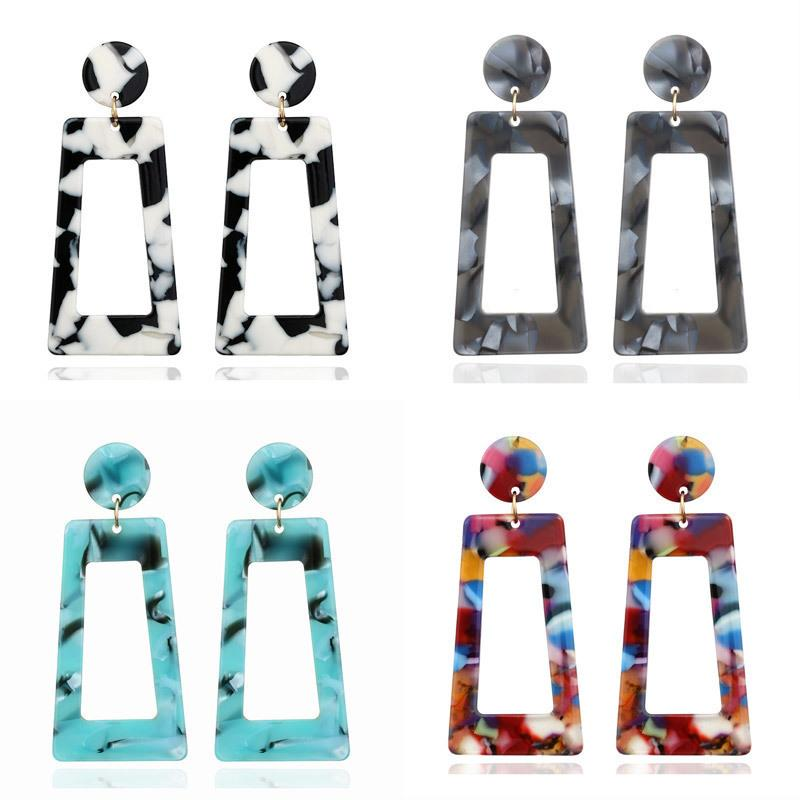 LETAPI 2020 New Colorful Elegance Trendy Party Charm Geometric Hanging Acrylic Dangle Drop Earring Modern Female Jewelry