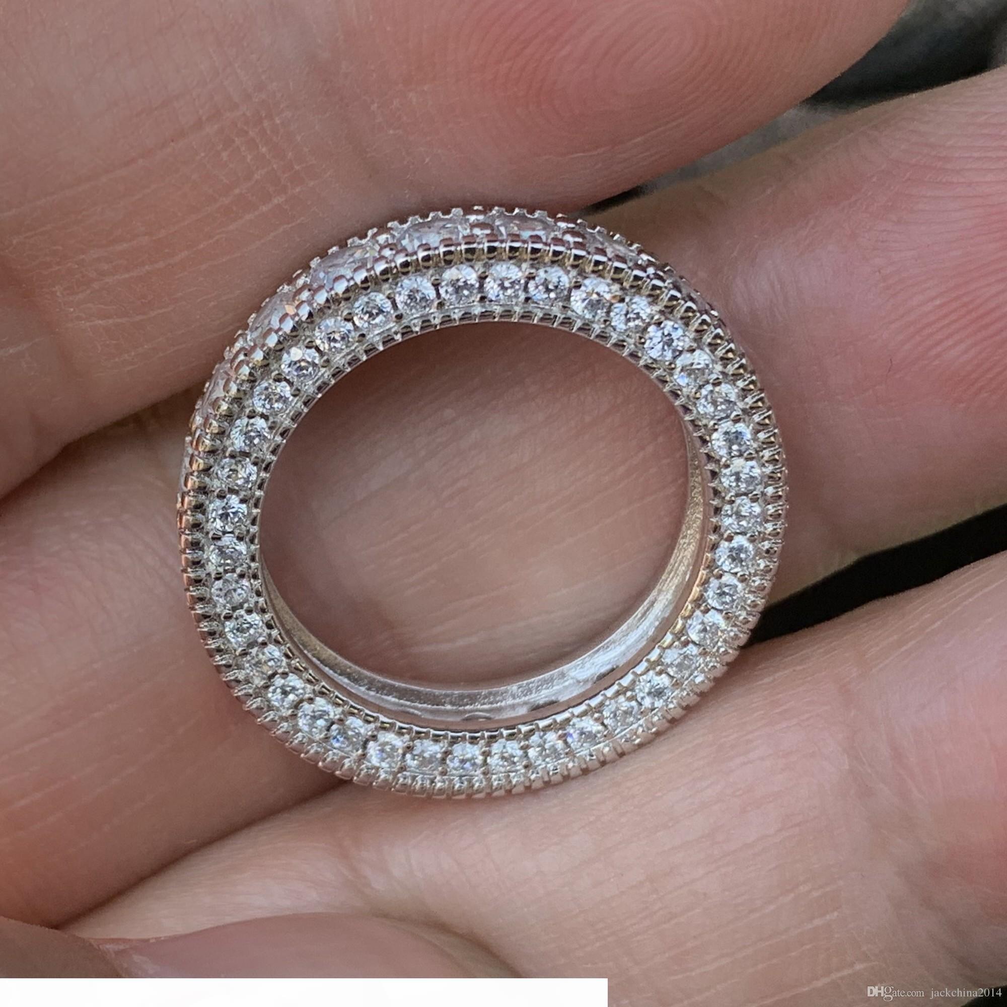 K joyería de moda de la vendimia 925 Sterling Silver Circle anillo de topacio blanco diamante de la CZ piedras preciosas boda del contrato anillo de la venda para los amantes