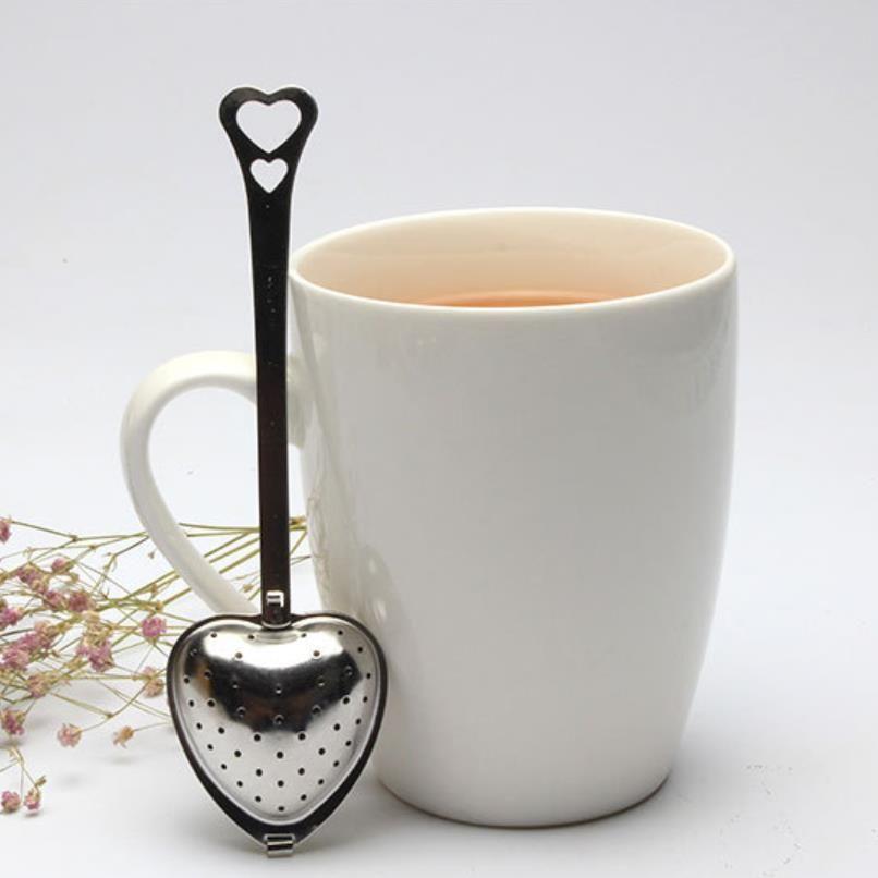 SS304 thé infuseur cuillère en forme de cœur filtre en acier inoxydable métal de filtre en feuilles vert maille remuer long manche
